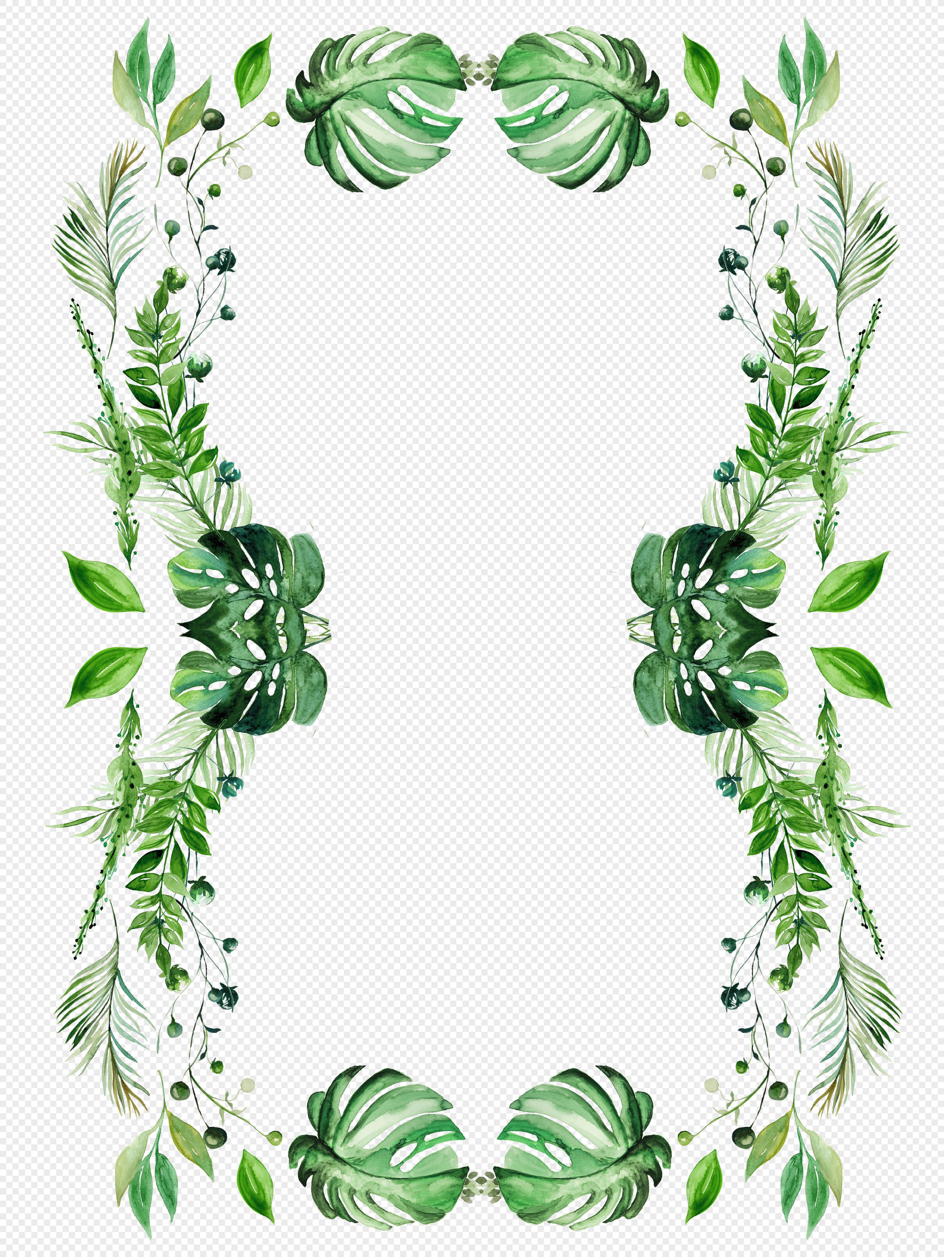 手绘绿色叶子边框