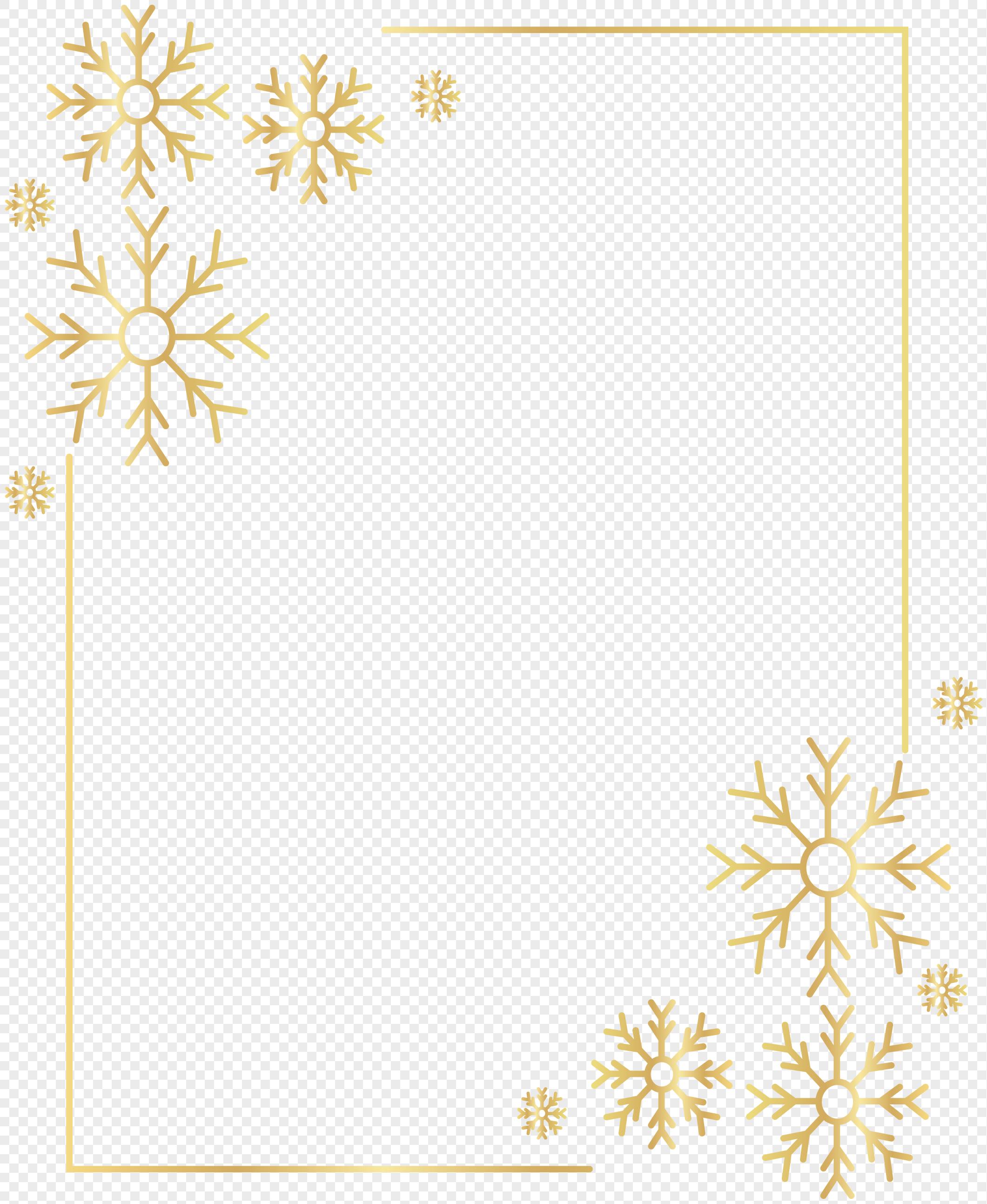 金色雪花边框