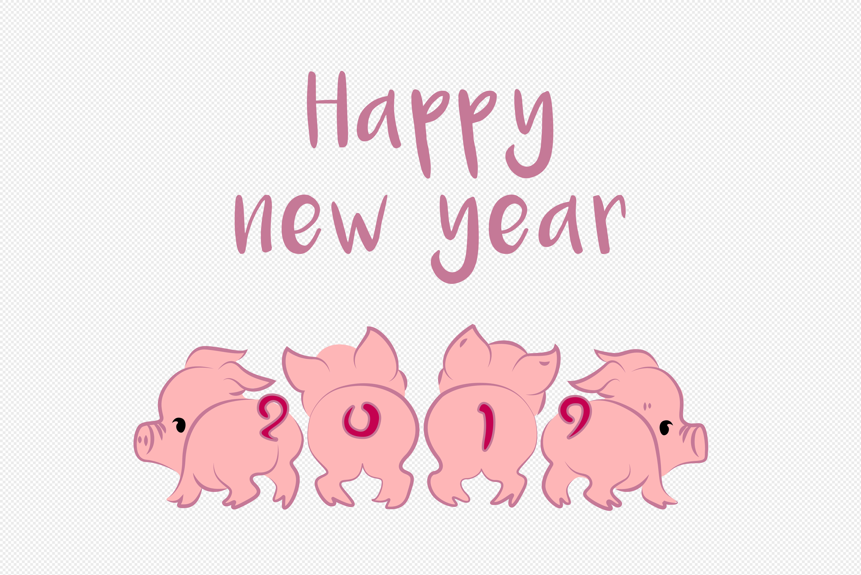 可爱卡通小猪祝你2019年新年快乐