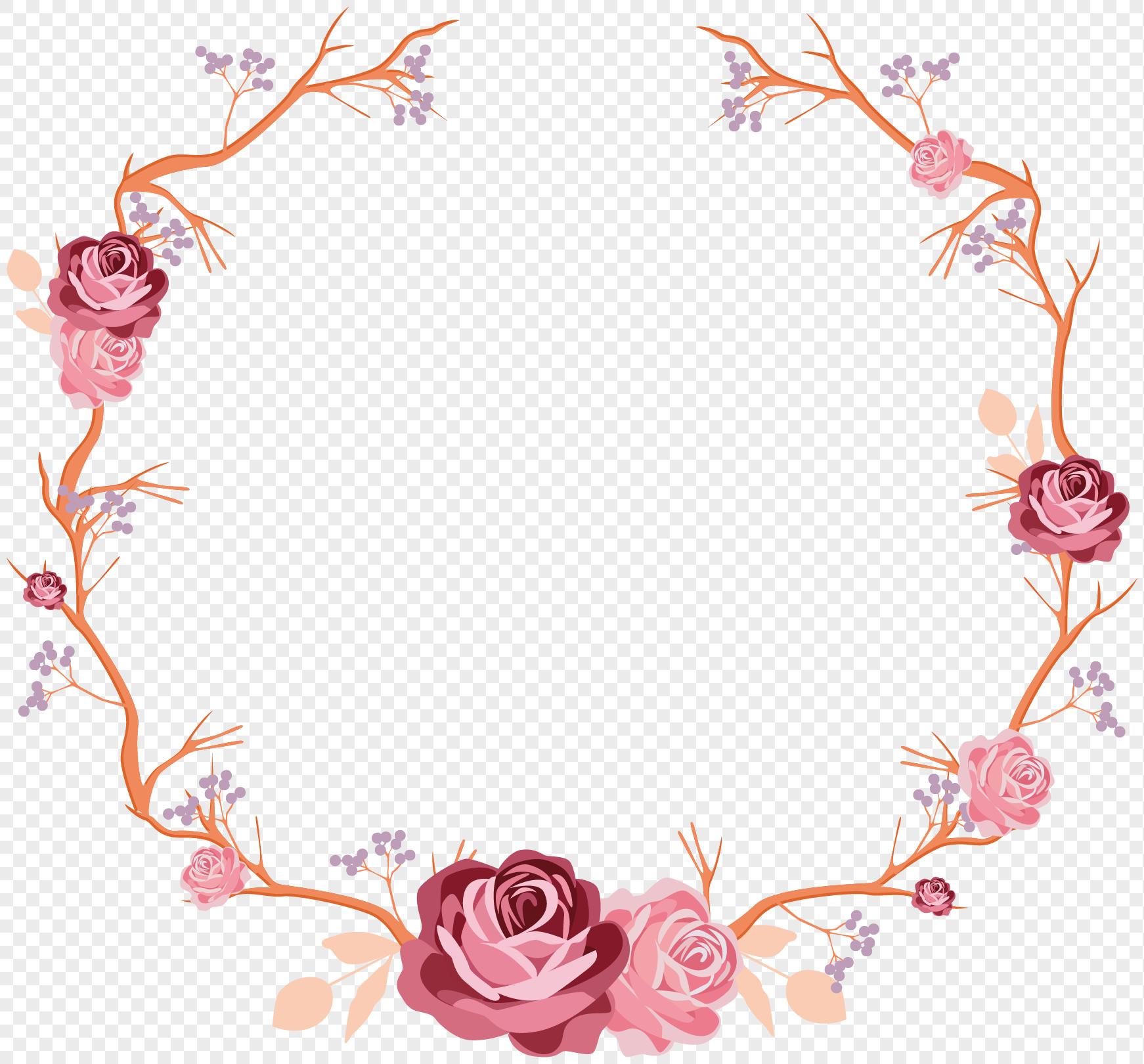 手绘玫瑰花花藤边框