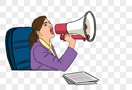 国外女性用喇叭喊话图片素材编号400648646_prf高清