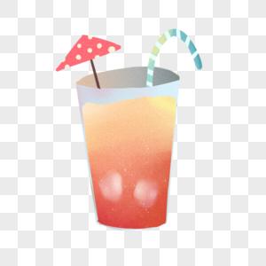 手绘卡通小清新水彩红色西瓜汁 photo