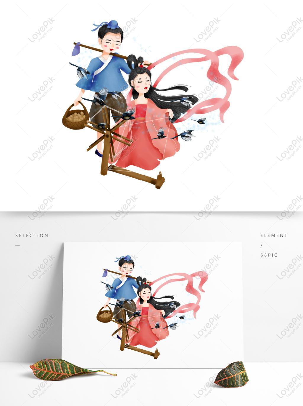 牛郎七夕情人节手绘插画设计06