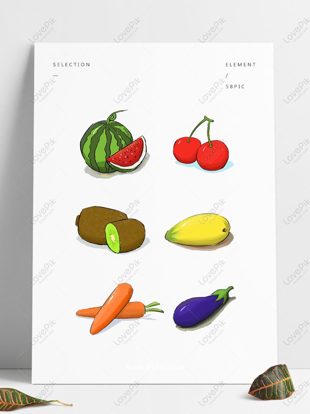 水果蔬菜手绘可商用西瓜樱桃芒果茄子胡萝卜