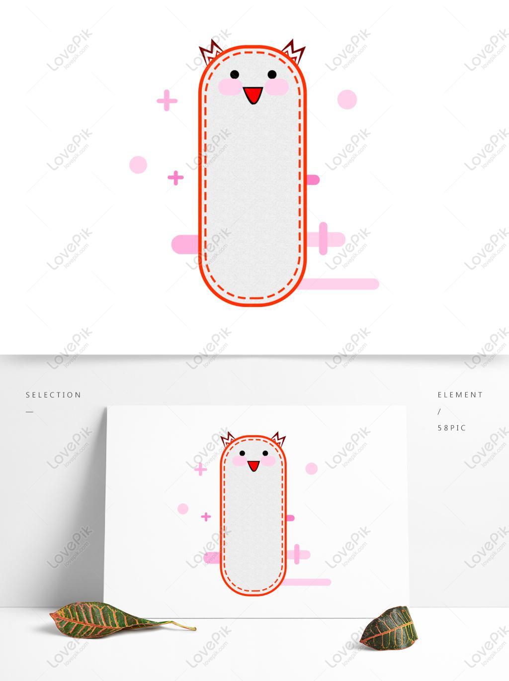 卡通可爱样书签装饰纹理边框素材简约可商用