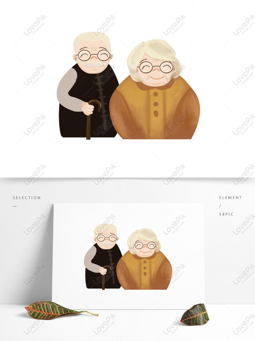 重阳节看书的老太太插画