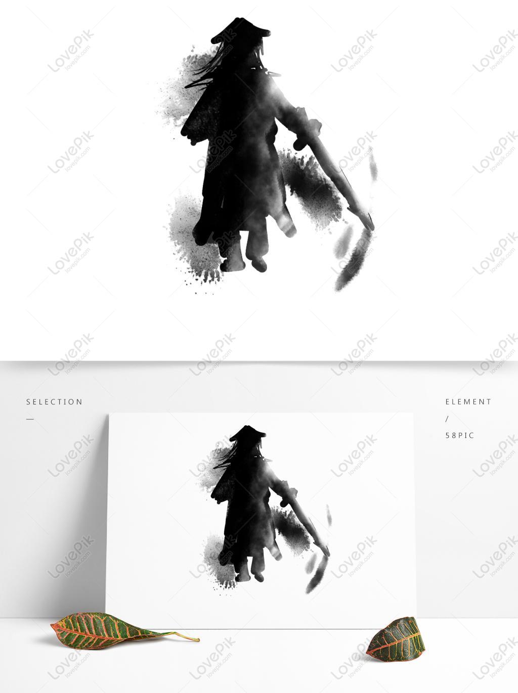 武侠人物剪影水墨国画黑白手绘可商用元素