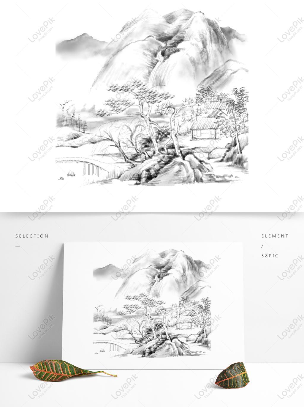 中国风水墨国画古风山水风景树小桥