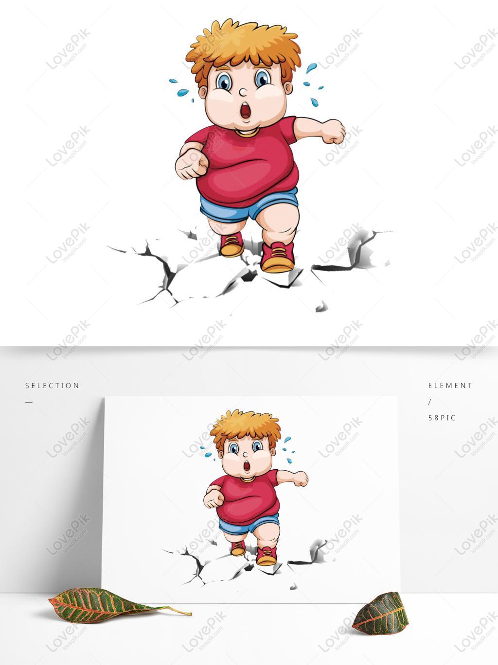 手绘减肥小男孩png素材