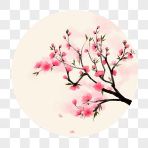 手绘风水彩写实春天桃花花卉