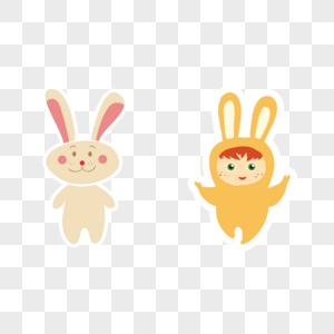 卡通手绘小兔子生气发怒表情图片素材编号610733365
