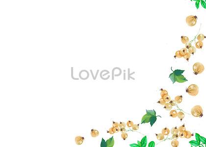绿葡萄水彩手绘二分之一留白图片素材编号400220308