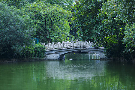 中国风江南小桥流水水墨桃花壁纸