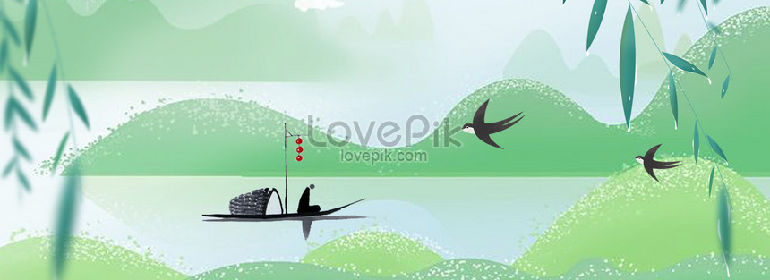 qingming festival ink lake psd layered banner png
