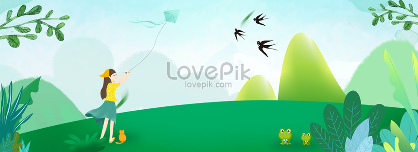 tomb sweeping cartoon spring kite banner png