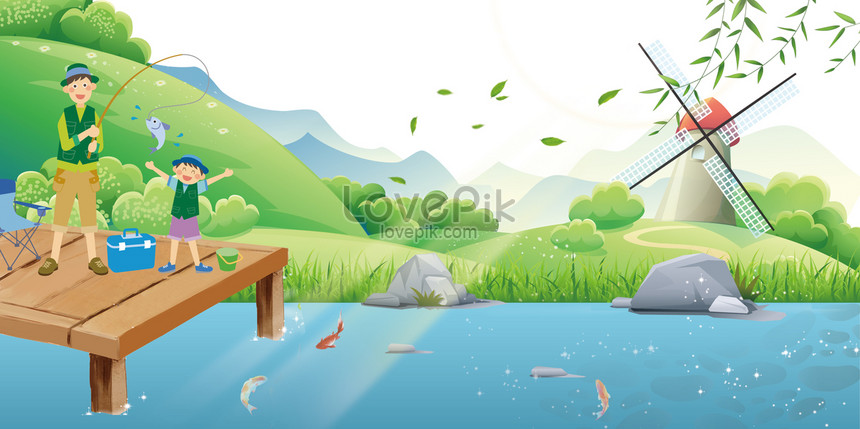 Green Summer Fishing Pool Flat Cartoon Advertising Background Backgrounds Image Picture Free Download 605520213 Lovepik Com