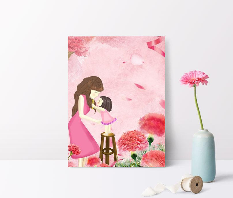 pink hand drawn warm mothers day floral characters background