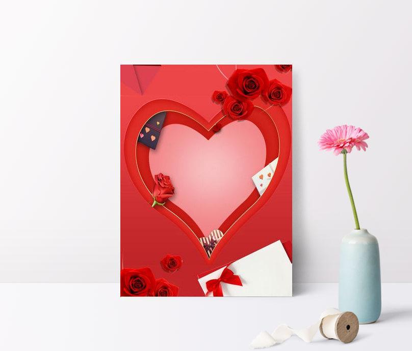 발렌타인 데이 낭만주의 사랑 장미 꽃잎 부동 광고 배경