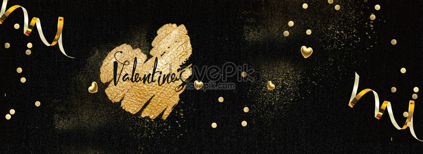 black gold golden romantic valentines day banner png