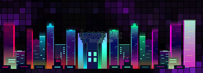 neon gradient city night background png