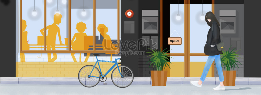 cô gái vẽ tay cuộc sống thành phố cafe Hình ảnh   Định dạng