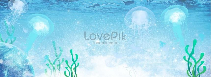 fundo azul pequeno fresco do cartaz das medusa do oceano png