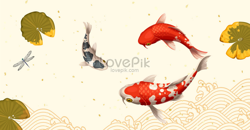 lucky koi lotus leaf poster png