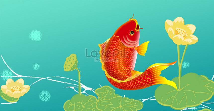 lucky koi lotus flower poster png