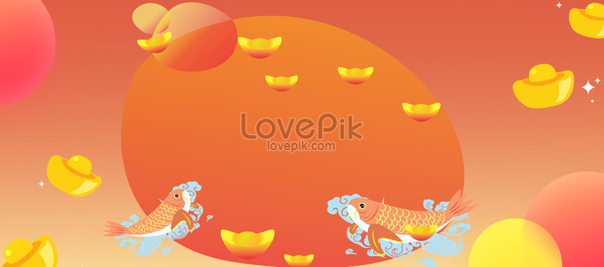 lucky koi happy new year cartoon banner poster background png