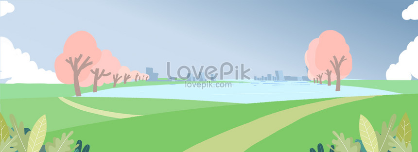 Hand Drawn Cartoon Meadow Cherry Blossom Park Background Backgrounds Image Picture Free Download 605747686 Lovepik Com