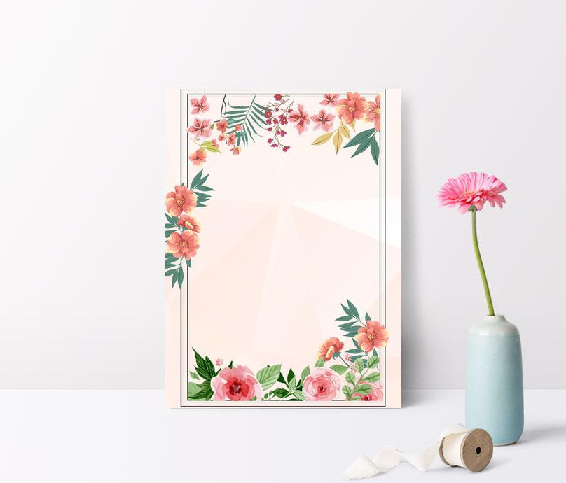 simple fresh floral pattern flower border meat pink poster backg
