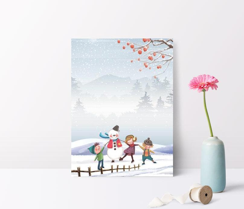 手繪簡約冬至日堆雪人的小孩插畫風節氣海報