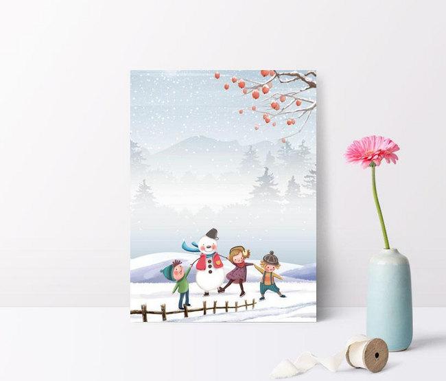 digambar tangan musim dingin sederhana titik balik salju anak an