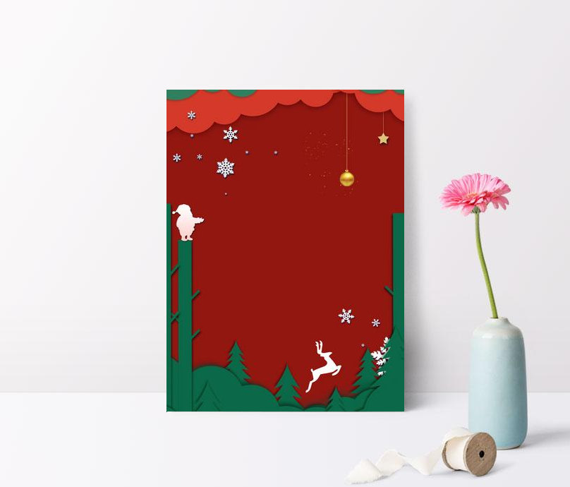 christmas green christmas tree paper cut wind