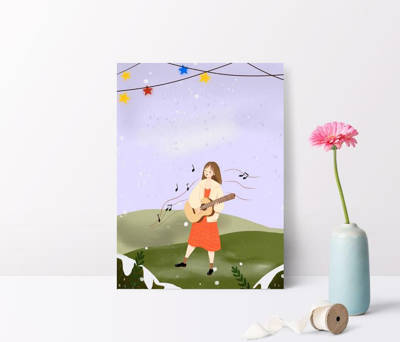 winter guitar girl travel illustration poster