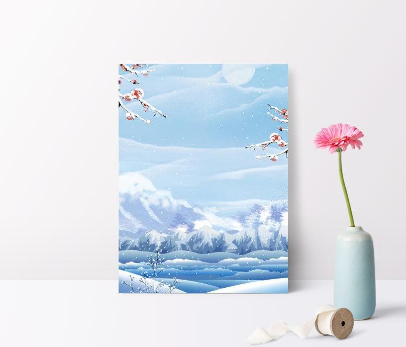 twenty four solar terms snowy plum blossom snow poster