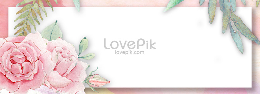 small fresh watercolor shading flowers border background png