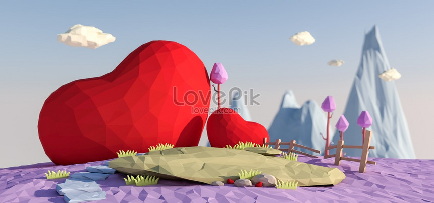 c4d valentines day low polygon scene png