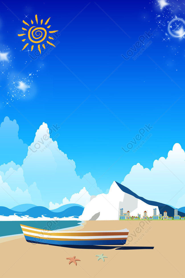 Flat Cartoon Seaside Beach Landscape Background Poster Images Hd Psd Poster Backgrounds 605818727 Lovepik Com