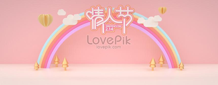 c4d paper cut rainbow bridge cute pink valentine araw ng stereo