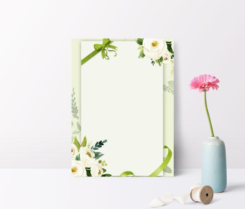 fondo floral literario de la invitación de la cinta verde