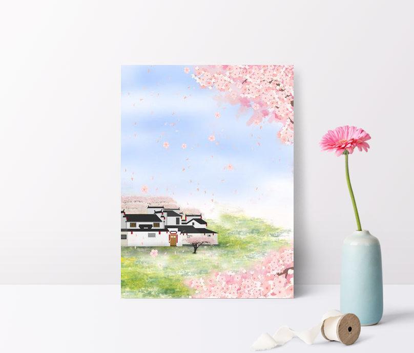 Musim Semi Bunga Sakura Yang Dilukis Dengan Tangan Latar Belakan