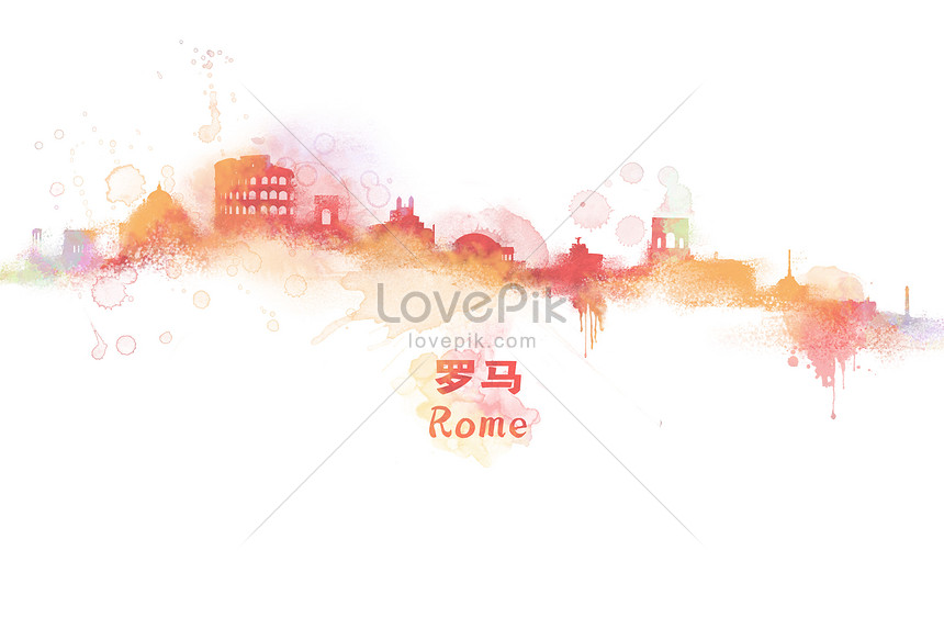 rome watercolor illustrations