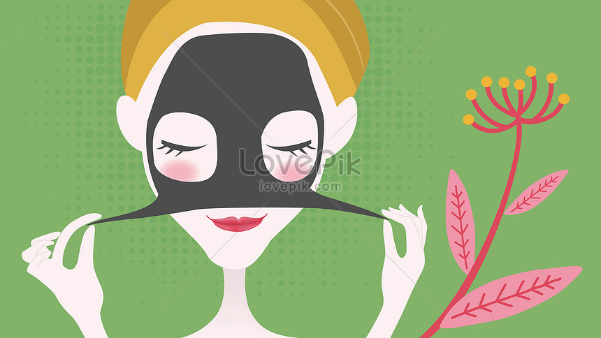 vector illustration of girl with facial mask illustration image picture free download 630001484 lovepik com vector illustration of girl with facial