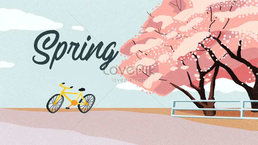 spring cherry blossom fresh illustration banner background png