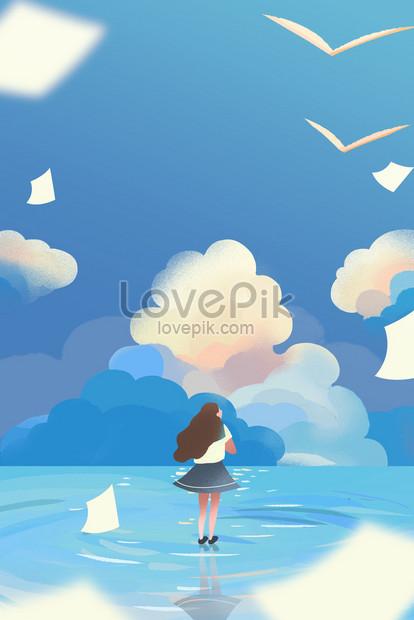 大学入試試験飛行夢空海イラストポスターの背景イメージ図 Id
