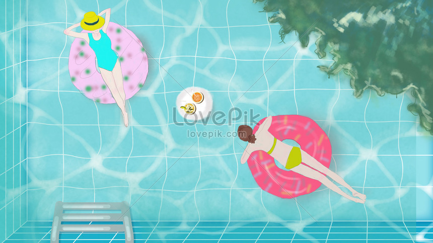 cool afternoon in the summer pool png
