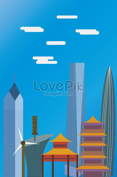 wuhan city landmark building vector illustration png
