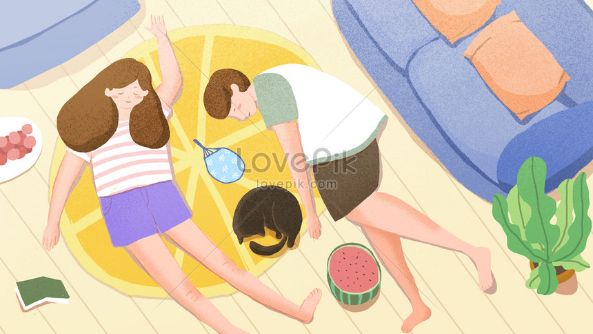 midsummer illustration nap time banner background png