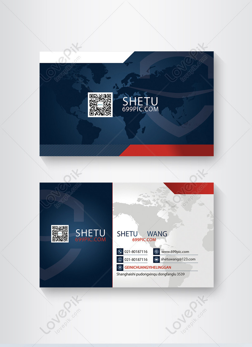business card design of blue and red business enterprise